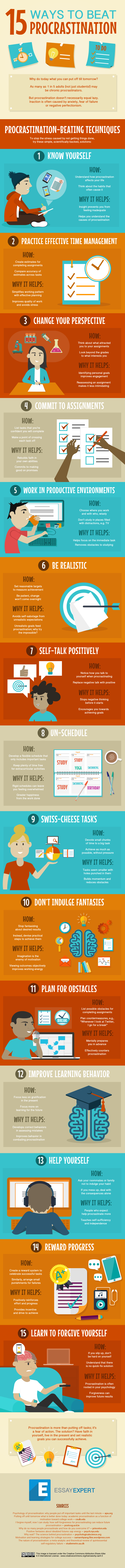 ways to beat procrastination infographic essay expert 15 ways to beat procrastination